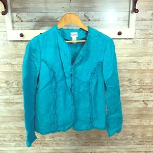 Chico's blue jacket with hook and eye closures